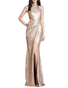 VANIAL Women's Halter Sequins Long Prom Dresses Evening Gowns Slit Champagne Size 24