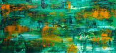 Contemporáneo de la pintura abstracta - verde naranja - original - Grande tamaño 102 x 55 cm
