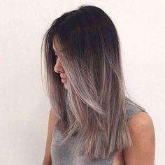 almost grey dip dye hair