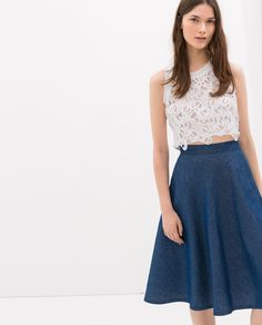 Image 1 of GUIPURE CROPPED TOP from Zara