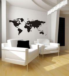 Wandtattoo Weltkarte Nr. 88 Wandaufkleber Wandmotiv (Größe: 1,25m x 0,58m): Amazon.de: Küche & Haushalt