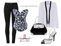Outfit con corsé floral, pantalones negros, blazer y complementos a juego.