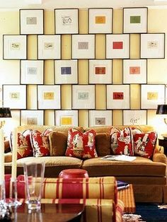 Suzie: Modern, fun living room space  eclectic yellow brown red living room design with gallery ...