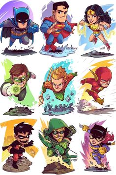 DC Characters by Derek Laufman - DC Comics. Marvel Drawings, Cartoon Drawings, Cartoon Art, Art Drawings, Chibi Marvel, Marvel Art, Batman Art, Batman Robin, Chibi Superhero