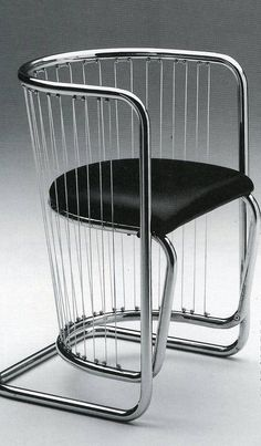 """Lira"" armchair, designed by Piero Bottoni in the and produced by Zanotta in the / Rationalist Bauhaus inspired tubular steel and chrome pieces Vintage Furniture Design, Deco Furniture, Bauhaus Furniture, Bauhaus Design, Tubular Steel, Metal Chairs, Mid Century Modern Design, Interior Design Studio, Contemporary Furniture"