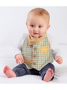 The Dude Babies! Bib Pattern will make your little man the center of attention.  Dress your sweet boy in 3 different and adorable bibs: Mr. Businessman, Mr. Cowboy and Mr. Formal. Baby bibs fit boys size 6-18 months.