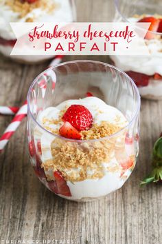 #ad #bh  Delicious and rich trawberry cheesecake parfait and awesome party ideas using Chinet® Cut Crystal® Tableware PLUS a giveaway! www.thebakerupstairs.com