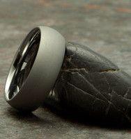 Dome Gray Stone Finish tungsten carbide ring