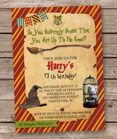 Harry Potter Inspired Birthday Invitation Custom Invitation - Birthday invitations harry potter printable
