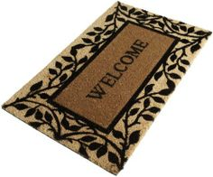 "DII Vines Welcome Coir Doormat with Vinyl Back by DII. $30.00. Handsome finish to your front porch. Includes 1 DII Vines Welcome coir doormat 18-inch by 30-inch; vinyl back. Shake briskly to clean. See all of Design Imports great kitchen, home, and gift products. DII Vines Welcome doormat features black vines on natural plus ""Welcome"". Coir with vinyl back. 18-inch by 30-inch"