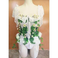 Poison Ivy Peplum Corset With Ivy Headband Size 8 Us ($158) via Polyvore featuring corsets, black, lingerie and women's clothing