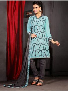 Buy Light Blue And Grey Cotton Suit With Resham And Zari Embroidery Work Designer Dior Collection Online In India - saree.com