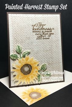 These are my two cards from Splitcoaststampers Creative Crew for September We had to make a card and then step it up. I used the Painted Harvest and Burlap stamp sets from Stampin' Up! in their 2017 Holiday Catalog. Burlap Card, Burlap Background, Sunflower Cards, Thanksgiving Cards, Scrapbook Cards, Scrapbooking, Fall Cards, Sympathy Cards, Paper Cards