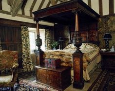 Gorgeous bedroom in an old English manor house, Medieval/Tudor feeling bedroom