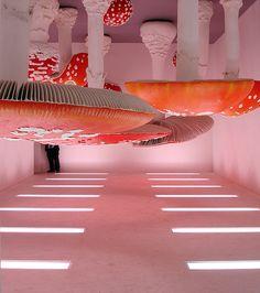 Carsten Höller. Upside-down mushroom room, 2000. MOCA. bizarre contemporary large scale art installation