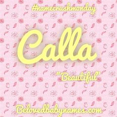 Beloved Baby Names: Name Crush Monday: Calla From calla lily Baby Names And Meanings, Names With Meaning, Nature Names, Cute Names, Calla Lily, Girl Names, Crushes, Writing Resources, Pregnancy