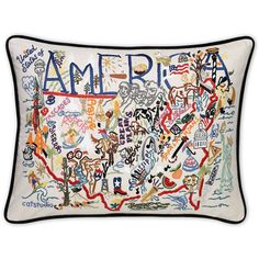 Embroidered United States of America Pillows