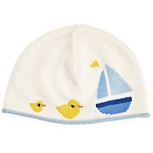Buy John Lewis Baby Knitted Boat Hat, Cream Online at johnlewis.com