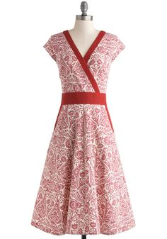 An Enchanted Evening Dress in Woodblock - Red, White, Print, Pockets, Casual, Fit & Flare, Cap Sleeves, V Neck
