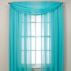 "Bed Bath Beyond  $25 ea x 2 Aqua Crushed Voile Sheer 95"" Rod Pocket Window Curtain Panel"