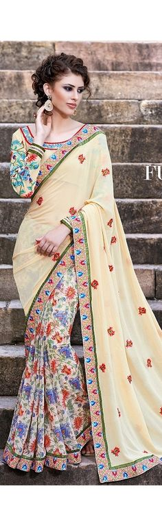 Fusion Of Colors Cream Fancy Party Wear Sarees broder, butta, flower printed work fancy sarees, comes with heay embroidered unstitched cream blouse.