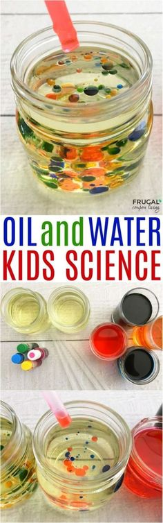 Be a scientist like the girl in the book Jobs of a Preschooler with this oil and water experiment.