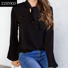 2019 Fall Women's Elegant Solid Color Long Flare Sleeve Bow Tie Neck Chiffon Blouses Blusas Baggy Chic Basic Shirts Plus Size Cheap Blouses, Shirt Blouses, Blouses For Women, Chiffon Shirt, Chiffon Blouses, The Office Shirts, Womens Fashion Stores, Flare, Plus Size Blouses
