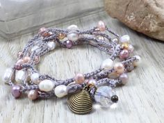 Crochet 5x Wrap Bracelet or Necklace Freshwater Pearl Boho Chic Gypsy Beach Shell Style Inspirational Jewelry Original by Kyleemae Design by kyleemaedesigns on Etsy