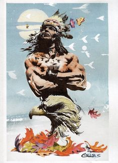 Native American Frazetta Vallejo Fantasy Original Illustration Art Chris Conidis   eBay