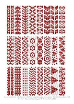 2 Colour Carrier Bead Patterns, Odd Count Peyote, Two-Colour Patterns, Full Word Charts, Red and White - Her Crochet Peyote Stitch Patterns, Bead Loom Patterns, Beaded Jewelry Patterns, Beading Patterns, Color Patterns, Beading Projects, Beading Tutorials, Tutorial Anillo, Bead Loom Bracelets