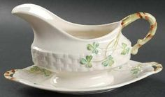 Belleek Pottery (Ireland) Shamrock Gravy Boat and Underplate, Fine China. Belleek Pottery (Ireland) Shamrock Gravy Boat and Underplate - Basketweave,Shamrocks