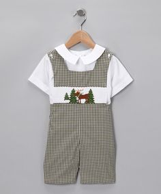 Moose!!  Brown Plaid Moose John Johns  from Silly Goose hand smocked children's clothing