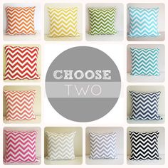 Two Chevron Throw Pillow Covers You Choose 16 X by thebluebirdshop, $28.00
