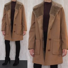 Vintage 1970s camel wool car coat. Faux shearling collar and multicolored lining. Patch pockets and beautiful leather buttons. Estimated size