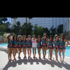 """All you need is LOVE"" tanks for bachelorette party- LOVE ThIS IDEA!"
