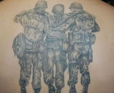 Soldiers hugged each other military tattoo