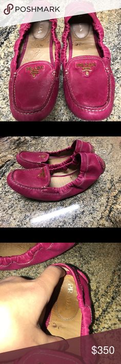 Pink Prada Drivers Shoes Size 5 Pre owned pink PRADA drivers. They have been used but still are gorgeous and have plenty of life left! Prada Shoes Flats & Loafers