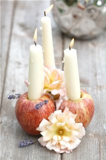 Apple candle holder - fun use of an apple corer!