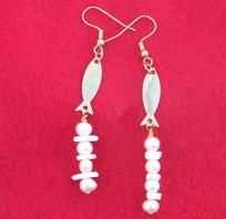 Free S - Handcrafted Pearls, Shells, Fish & Gold Earrings - A JewelryArtistry Original-E246       $19.98
