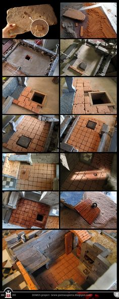 "Domus project 188-203: Miniature ""cotto"" tiled floor"