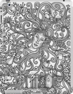 Almaskert Tablet case  Almáskert= Apple Garden Silverscreen dreams in the orchard Traditional drawing, made with black marker and grey brush marker  apple garden, fantasy, fairy, dreamy, dreamlike, black and white, gray, grey, garden, floral, pear, apple, orchard, fae, flourish, flowers, lotus, nymph, art nouveau