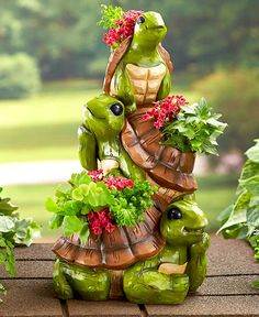 Outdoor statue red green ceramic turtle gifts for her flower garden fairy garden friend Christmas garden decor cute turtle indoor planter