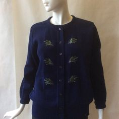 Navy blue cardigan with embroidered springs of heather in purple, green & white, by Moffat Woolens, made in Scotland, extra large / 18 - 20 by afterglowvintage on Etsy European Style, European Fashion, Navy Blue Cardigan, Warm And Cozy, Scotland, Vintage Outfits, Handsome, Plus Size, Purple