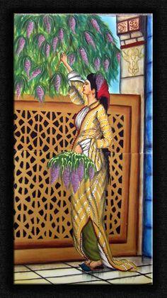 Leylak toplayan kadın çini pano