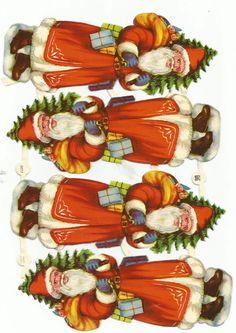 Glanzbilder,Oblaten,Scraps,Cromos EAS 3013 , Weihnachtsmänner SELTEN