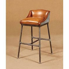 Leather, low back. Simple. Livy Industrial Leather Bar Stool with Metal Pipe Frame
