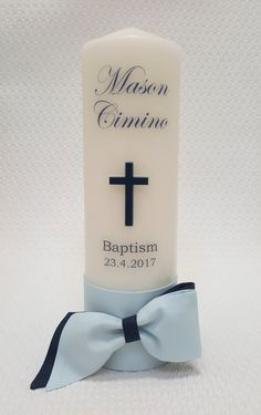Personalised Boys Christening / Baptism cross candle. christening-baptism-personalised-candle-7-thick Christening Gifts For Boys, Baby Boy Baptism, Baptism Party, Baby Christening, Baby Boy Christening Decorations, Baptism Cupcakes, Baptism Ideas, Boy Baptism Centerpieces, Baptism Candle