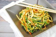 Zucchini Miso Ponzu Noodles Recipe – 3 Points + by LaaLoosh Noodle Recipes, Veggie Recipes, Asian Recipes, Cooking Recipes, Ethnic Recipes, Ww Recipes, Dinner Recipes, No Calorie Foods, Low Calorie Recipes