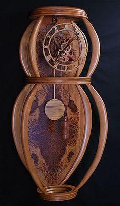 Wall Clock - Gary Johnson Custom Wood Clocks - Woods used:  Mahogany, Bubinga, Yellow Heart and Gumwood