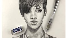 How To Sketch Rihanna Step by Step Using One Pencil